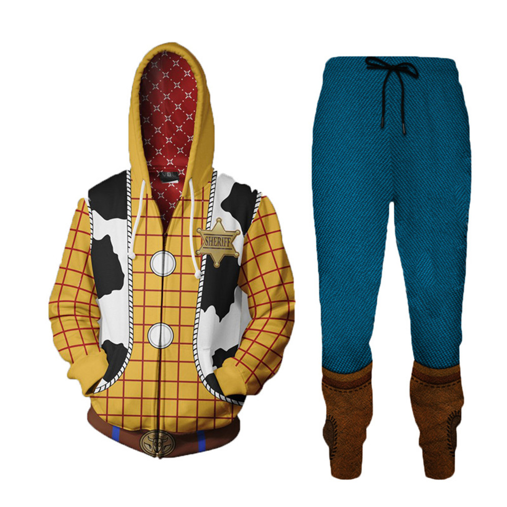 Men 3D Toy Story Woody Cosplay Costume Hoodies Buzz Lightyear Sweatshirt Fashion CowBoy Woody Zipper Jacket Sport Coat Pants