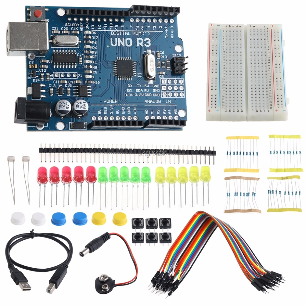1set Starter Kit Uno Mini Breadboard Led Jumper Wire Button Integrated Circuits Dropship Agreeable Sweetness Electronic Components & Supplies