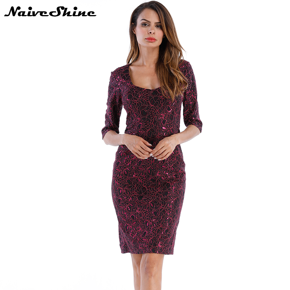 US $14.39 40% OFF|Naive Shine Women\'s Vintage Elegant Party Dresses Large  Sizes Half Sleeve Lace Floral Embroidery Plus Size Sheath Autumn Dress-in  ...