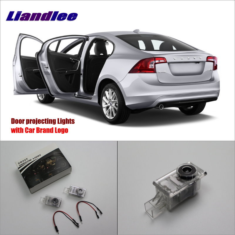 Liandlee For Volvo S60 2011~2014 Door Ghost Shadow Lights Car Brand Logo LED Projector Welcome Light Courtesy Doors Lamp