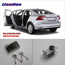 Liandlee For Volvo S60 2011~2014 Door Ghost Shadow Lights Car Brand Logo LED Projector Welcome Light Courtesy Doors Lamp 2x canbus led car door logo welcome light ghost shadow projection emblem lights for seat alhambra n7 2011 2012 2013 2014