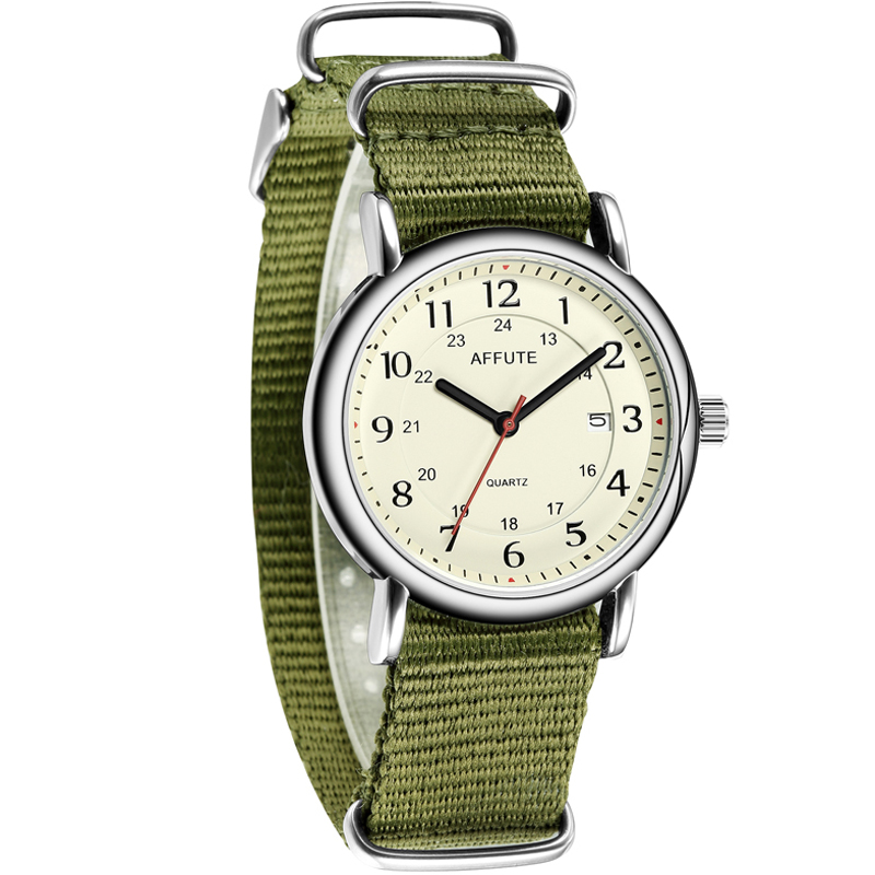 AFFUTE Unisex Date Quartz Analog Watch with Green Nylon Slip-Thru Strap 30M Waterproof Clock Simple Men Women Army Sport Wathes nuckily ns357 men s outdoor sport nylon spandex shorts army green size l