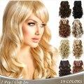 16 Colores Clip en Extensiones de Cabello 7 unids/set 20 inch 50 cm Largo Postizo Rizado Ondulado Natural Sintético Resistente Al Calor la Extensión del pelo