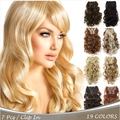 16Colors Clip in Hair Extensions 7pcs/set 20inch 50cm Long Hairpiece Curly Wavy Heat Resistant Synthetic Natural Hair Extension