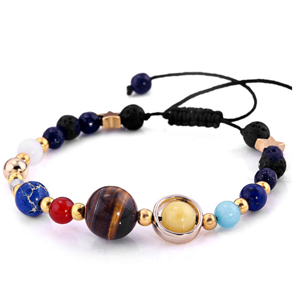 Guardian Star Natural Stone Beads Bracelet Universe Galaxy the Eight Planets in the Solar System Bangle for Women & Men Gift