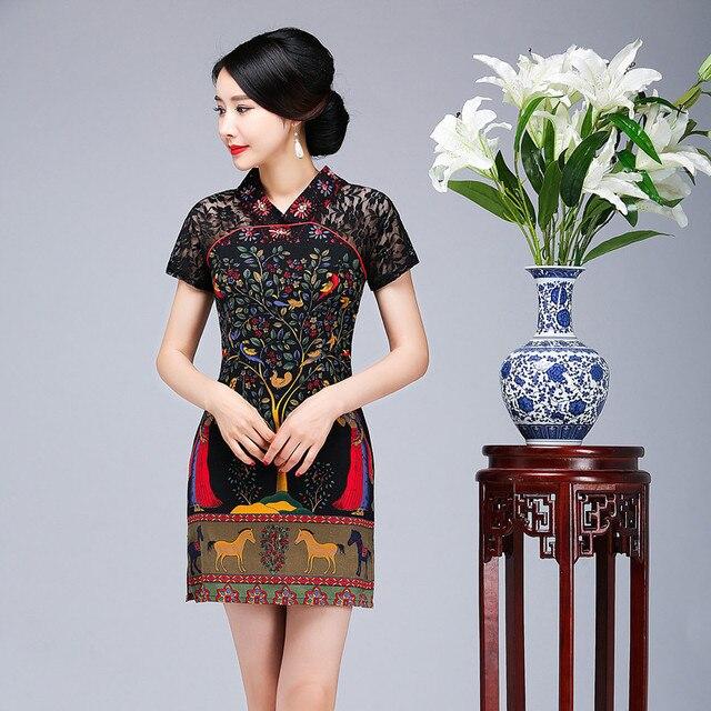 Summer Women Short Sleeve Qipao Chinese Vintage V-Neck Print Flower Cheongsam Sexy Lace Business Dress Plus Size 3XL 4XL 5XL