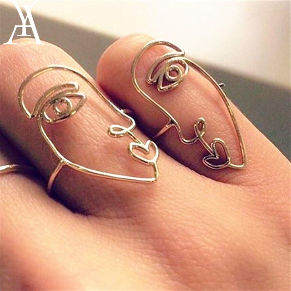 2 unids/set anillo de cara abstracta única de Hip Hop anillo minimalista hueco a juego de media cara Anillos para Mujer Anillos Mujer pareja anillo
