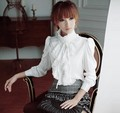 Black/White Vintage Style Women OL Office High Neck Frilly Women Lapel Ruffle Collar Tops Shirt Blouse