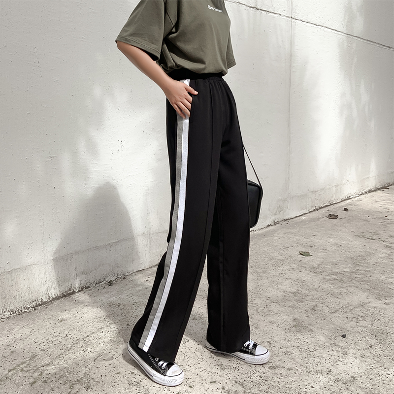 Black Striped Pants Women All match Korean Style Pockets Red Wide Leg Pants High Waist Autumn Loose Ladies Trousers Casual S XXL in Pants amp Capris from Women 39 s Clothing