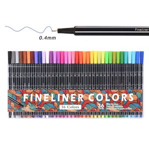 24/36 Colors Fine Liner Pen Set Micron Sketch Double-Side Marker Colored 0.4mm Manga Painting School Needle Comics Art Markers
