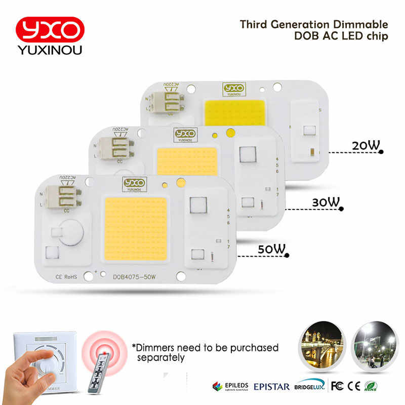 YXO YUXINOU DOB LED COB Chip 50W 40W 30W 20W 10W AC 220V No need driver Smart IC bulb lamp For DIY LED Floodlight Spotlight