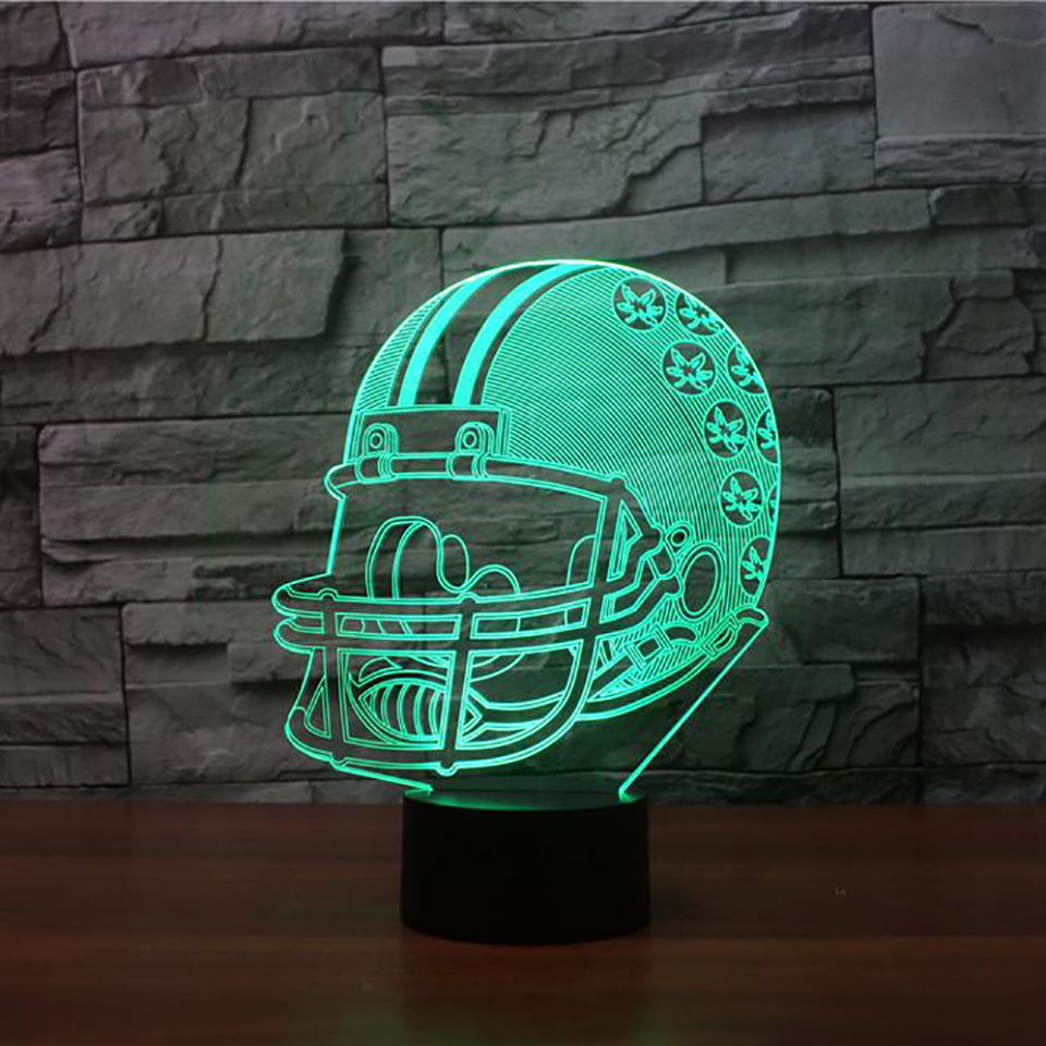 3D Vision Rugby Helmet Shape Desk Lamp 7 Colors Change Led USB Night Light Bedroom Sleep Lighting Gifts American Football Decor
