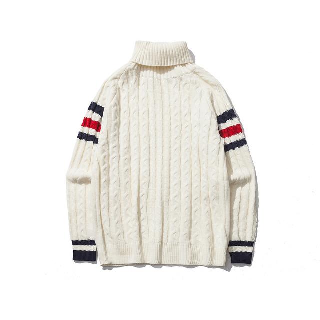 Listrado camisola de gola alta no outono e inverno Coreano cor projeto do Japonês para o homem e as mulheres blusas de malha