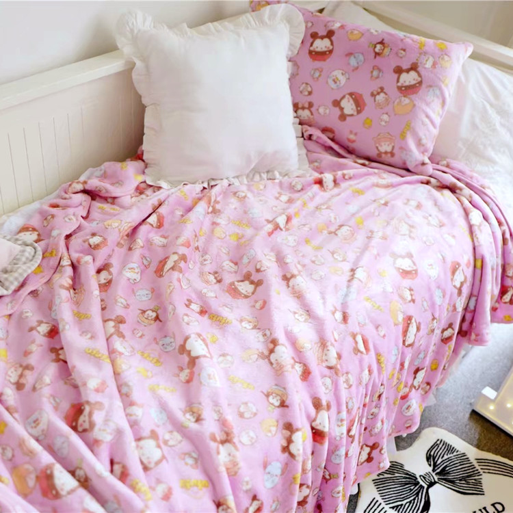 Cute Super Soft Plush Smooth Flannel TSUM TSUM UFUFY Doll Cartoon Plush Pink Doll Toys Blanket PillowCase For Girl Kid super soft flannel dense forest blanket