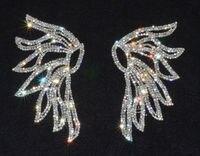 Para Kryształ Rhinestone Anioł Skrzydło Sukienka Aplikacja Szycie Na D1629