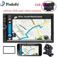 Podofo 2 Din 7″ Car audio Bluetooth Car Multimedia Player Touch Screen Autoradio Audio Stereo FM USB MP5 With Rear View Camera