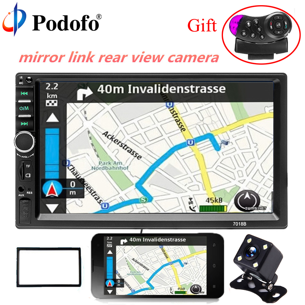 Podofo 2 Din 7 Car audio Bluetooth Car Multimedia Player Touch Screen Autoradio Audio Stereo FM USB MP5 With Rear View Camera