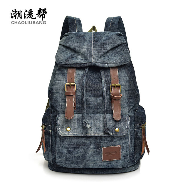 fashion denim backpack women vintage jeans rucksack for girls drawstring bag  back to school bag teenager bolsa feminina mochila 722777d348