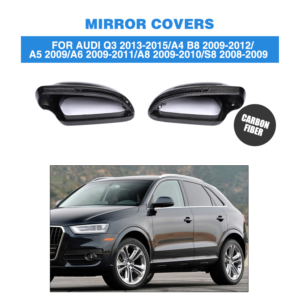 2PCS/Set Carbon Fiber Rearview Mirror Caps Without Side Assist for Audi Q3 13-15 A4 09-12 A5 2009 A6 09-11 A8 09-10 S8 08-09 image