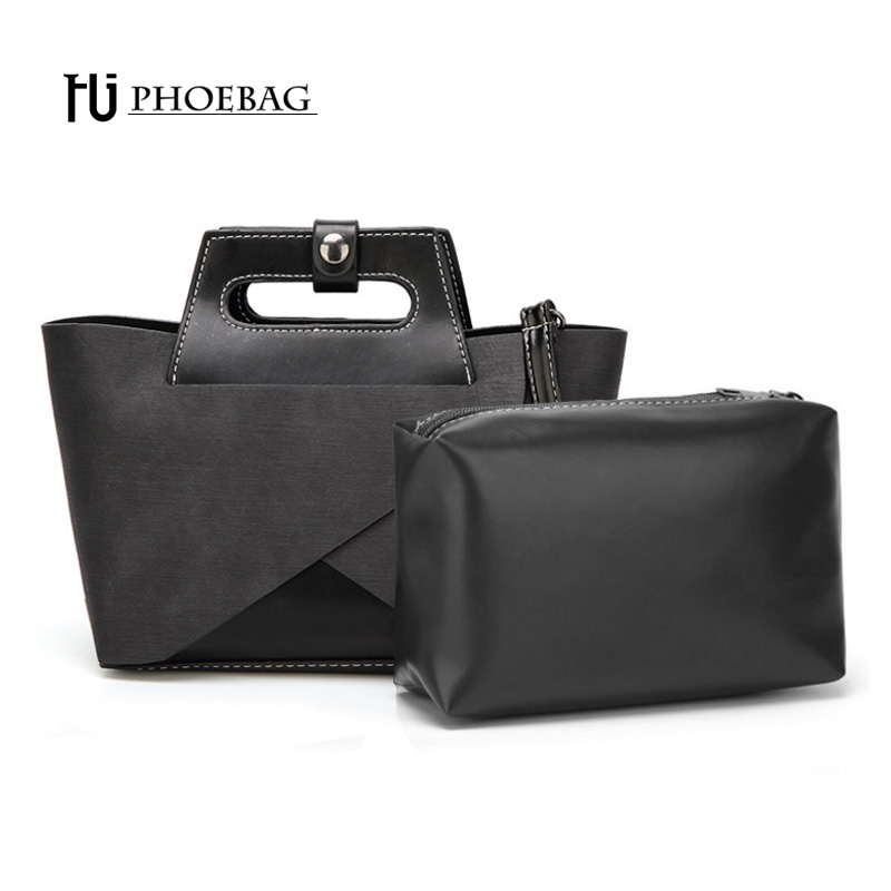 HJPHOEBAG 2 pcs/set Fashion women high quality bags lady Casual tote Shoulder bag Design Handbags PU Leather Totes HJ-S46 casual women s shoulder bag with beauty print and pu leather design