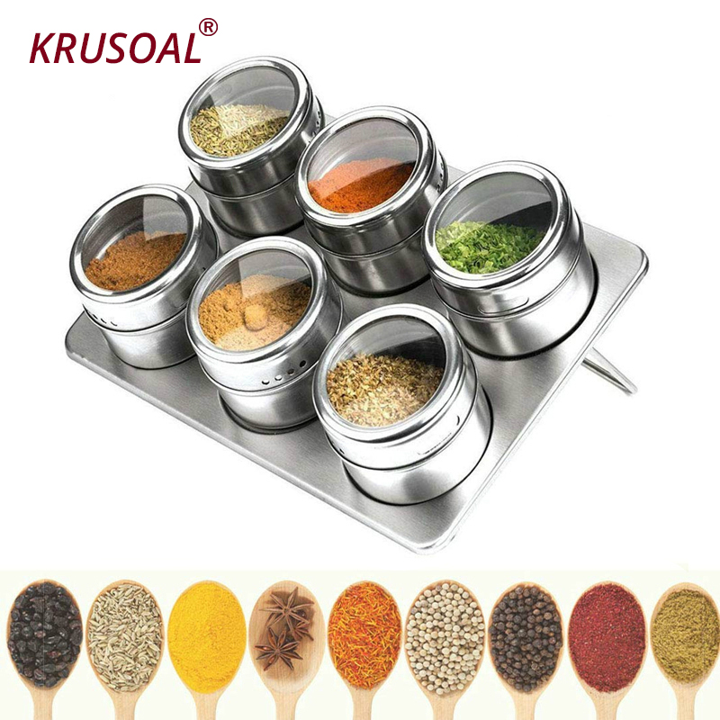 Magnetic Spice Jar Set 304 Stainless Steel salt shaker Pepper Sprayer for spices Rack Seasoning Box kitchen Condiment Container