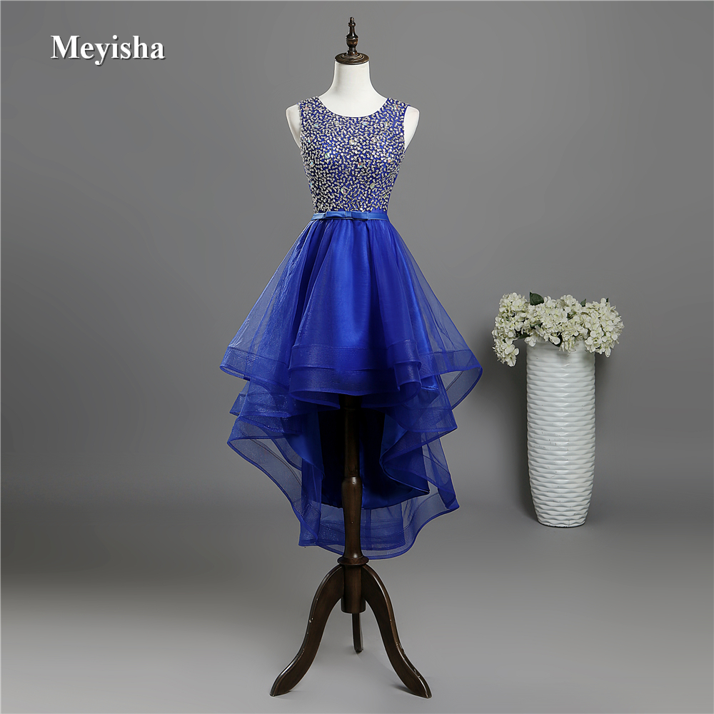 ZJ7028 Royal Blue High Low   Prom     Dresses   Organza Puffy Beads Crystal Long Homecoming Cheap Quinceanera Gowns Sparky Customer Made