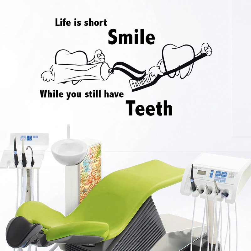 Teeth Cleaning Vinyl Wall Decal Bathroom Dental Office Clinic Decor Stickers Mural Stomatology Deoration Waterproof Z282