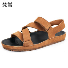 Summer Genuine Leather roman sandals men high thick soles gladiator beach shoes all-match cowhide outdoor anti-skid