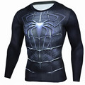 Mens Fashion 2017 Fintness Men Superhero Anime Iron man Superman Captain America Compression Shirt Crossfit Long Sleeve T Shirt