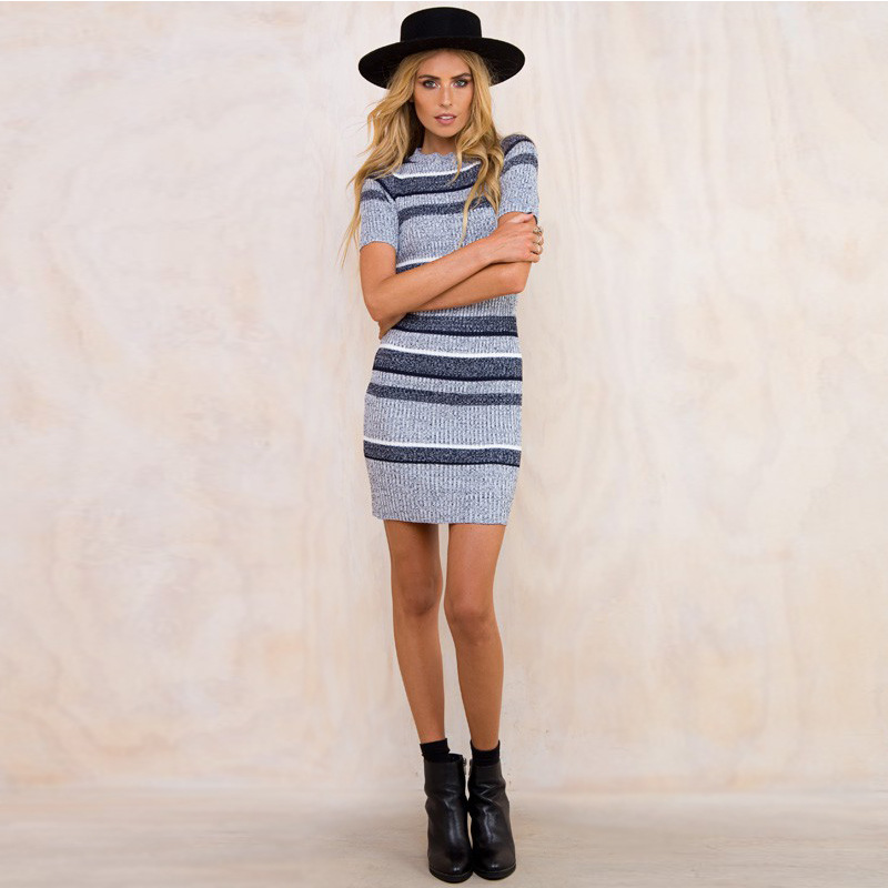 1d98fbd69459 Blue striped knitted bodycon dress 2016 Autumn winter short sleeve girls  dress Elegant evening party sexy dresses women-in Dresses from Women's  Clothing on ...