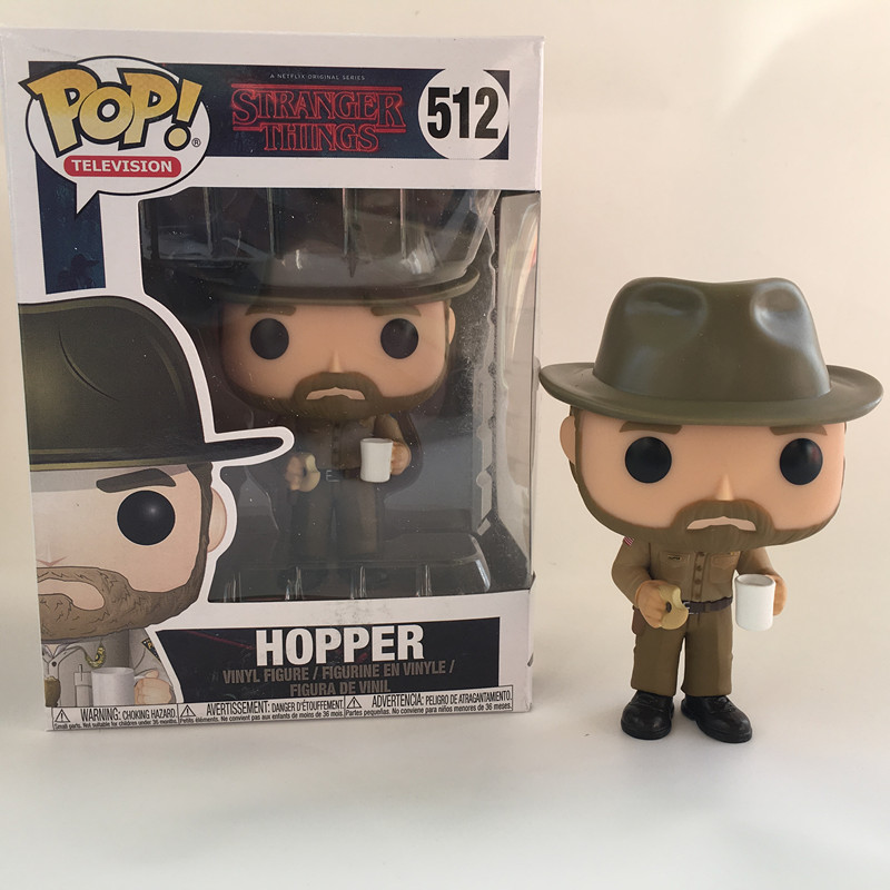Funko POP Stranger things & HOPPER 512 PVC Action Figure Collection model toys birthday Gift