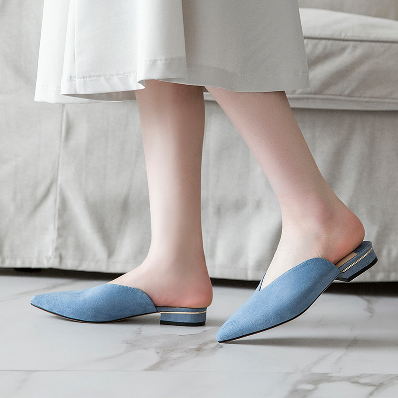 Mules Mature 2019 Attrayant Appartements Karinluna Office Mode Femmes Élégant Lady Classiques Neuf Flambant De Ins gris Bleu Style qxwfYpwSv