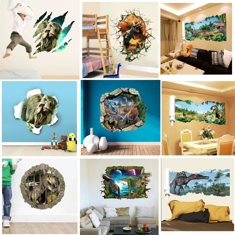 3d through dinosaur wall stickers decals for kids rooms for Dinosaur wall decals for kids rooms