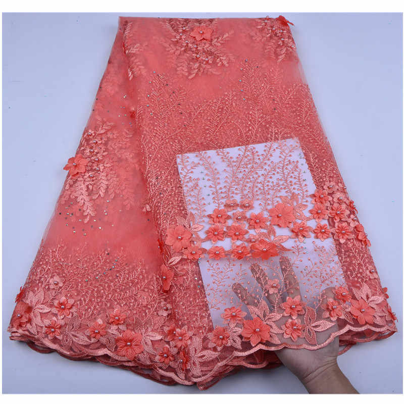 Красивые серебристо-серые 3 D нашитые кружевные цветы нигерийская кружевная ткань с бусинами продажа хорошо Hign качество кружевной отделкой платье A1255