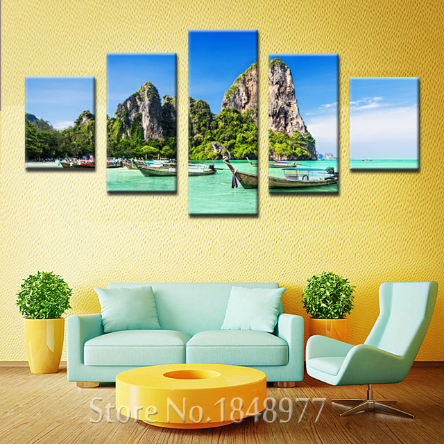 5 Panel Modern Wall Art Home Decor Printed Beautiful Beach Island ...