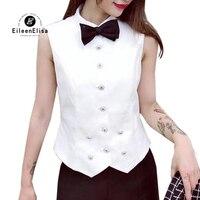 2019 модные женские топы корректирующие и блузка; Весна лето рубашка, блузка без рукавов женский белый жилет повседневное