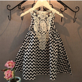 Pretty Summer Kids beach dress black white waves lace dress Girls Baby Girls vest dress