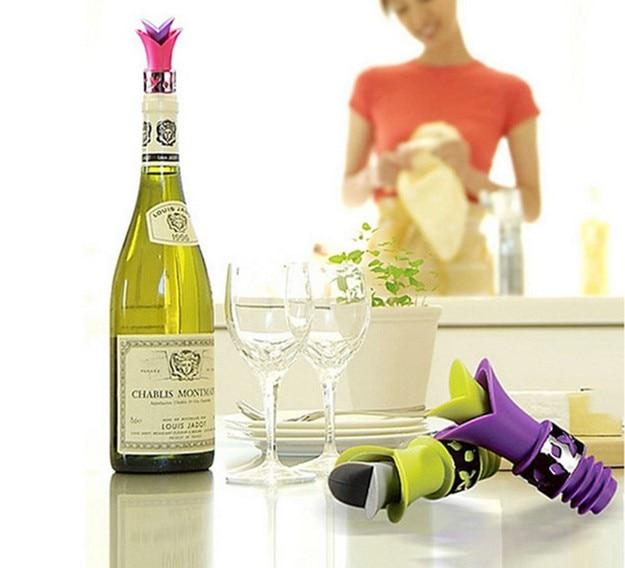 1 개 새로운 실리콘 백합 병 마개 누설 방지 와인 부어 부엌 파티 코르크 안티 유출 LB 451
