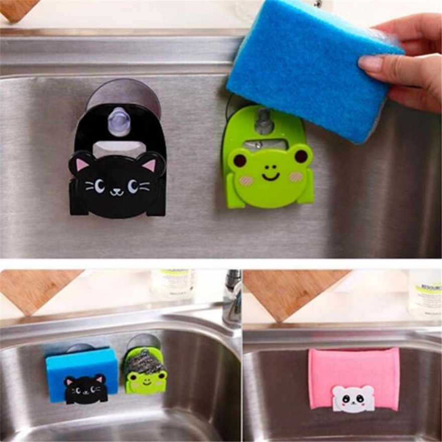 Carton Dish Cloth Sponge Holder Rack With Suction Cup Cute animal sucking sink storage shelf container #1205 A1#