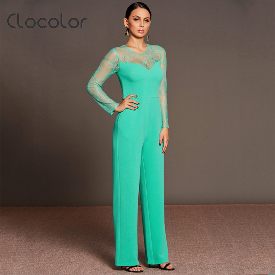 Clocolor Women Jumpsuit Slim Straight Full Length See-Through Patchwork Lace Round Neck Solid 2018 Fashion Women Jumpsuits
