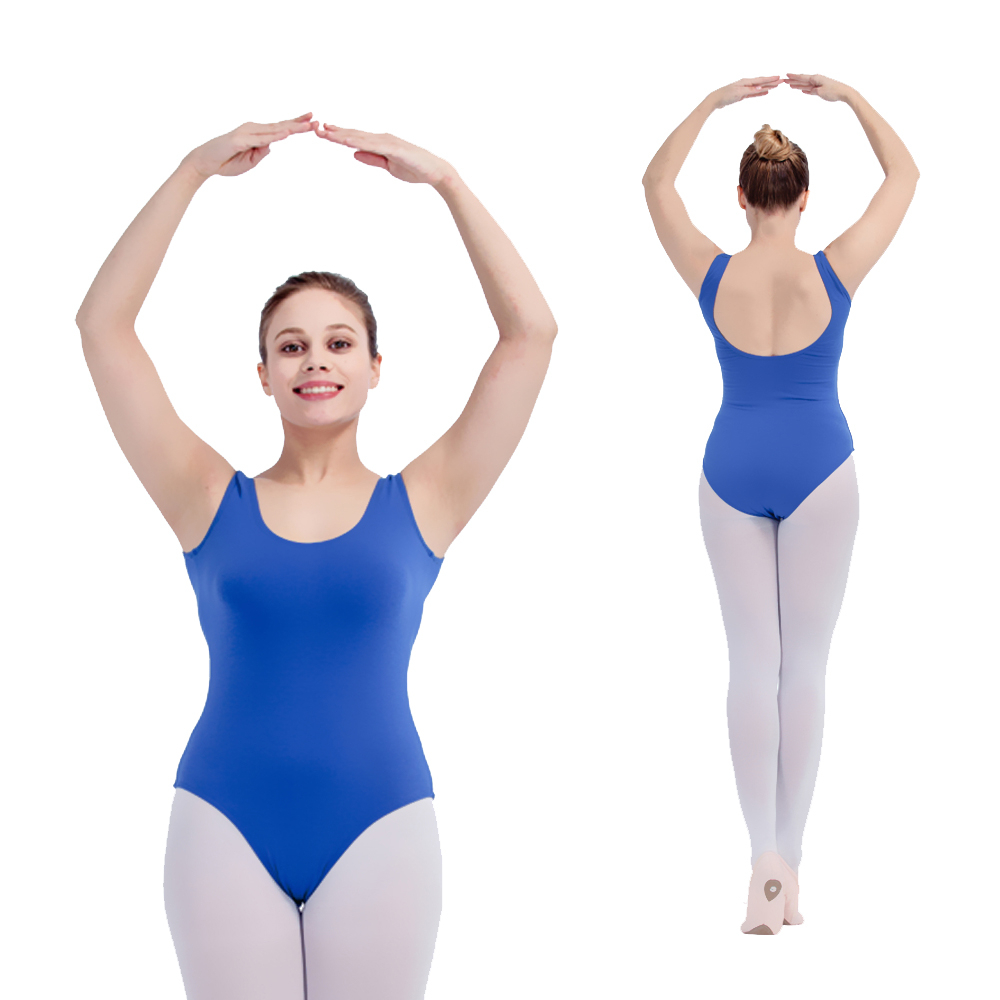 Atacado preto, azul real cottonlycra em torno do pescoço baixo voltar tanque collants ballet dança para senhoras e meninas