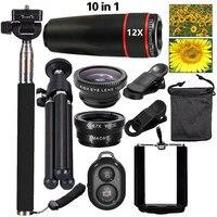 Universal 10in1 Phone Camera Lenses Kit 12x Telephoto Lentes Fisheye Wide Angle Macro Lens Selfie Tripod