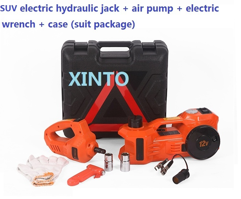 3Ton 12V dual-function Electric hydraulic jack set with pump and electric spanner for 3T SUV