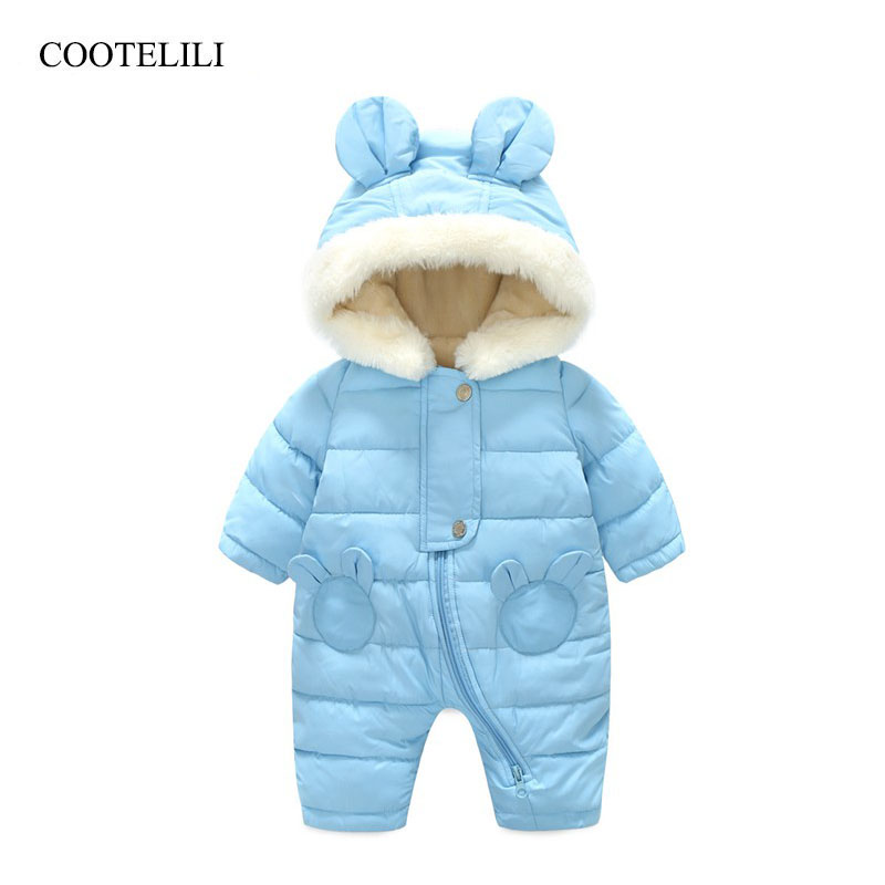 COOTELILI Russian Fleece Velvet Infant Clothing Winter Baby Girls Boys Rompers Warm New Born Baby Clothes Snow Jumpsuit paul frank baby boys supper julius fleece hoodie