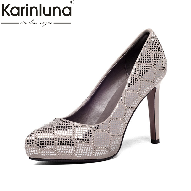 KarinLuna 2018 Spring Autumn Bling Crystal Praty Wedding Genuine Leather Women Pumps High Heels slip-on Shallow Shoes Woman superstar genuine leather bling crystal slip on women pumps wedding preppy style office lady thick high heels brand shoes l0f1
