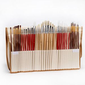 Image 1 - 38Pcs Paint Brushes Set With Canvas Bag Case Long Wooden Handle Synthetic Hair Art Supplies For Oil Acrylic Watercolor Painting