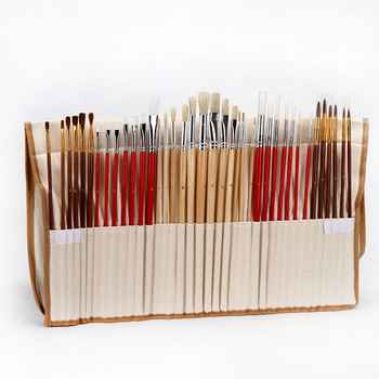 38Pcs Paint Brushes Set With Canvas Bag Case Long Wooden Handle Synthetic Hair Art Supplies For Oil Acrylic Watercolor Painting - DISCOUNT ITEM  32% OFF All Category