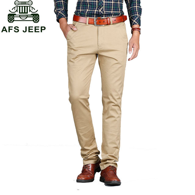 e45df4a282b 29~42 2017 New Autumn Mens Plus Size Cargo Trousers Pants Pure Cotton  Casual Trousers Man Straight Formal Cargo Army Green Khaki