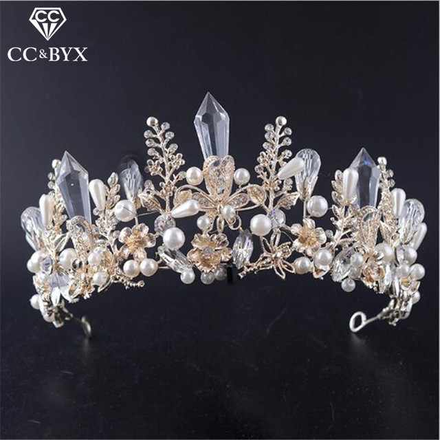 CC crowns tiaras hairbands luxury bride wedding hair accessories for women engagement crystal pearl bridesmaids jewelry HG719