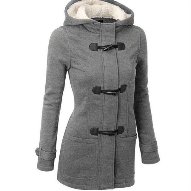 Cộng với Kích Thước S ~ 6XL Phụ Nữ Đội Mũ Trùm Đầu Áo 2018 Quan Hệ Nhân Quả của Phụ Nữ Áo Khoác Nữ Áo Khoác Dây Kéo Áo Khoác Nút Còi Outwear Áo Khoác casaco Feminino